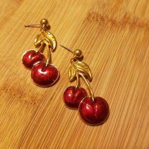 Jewelry - Super Cute Gold Cherry Earrings